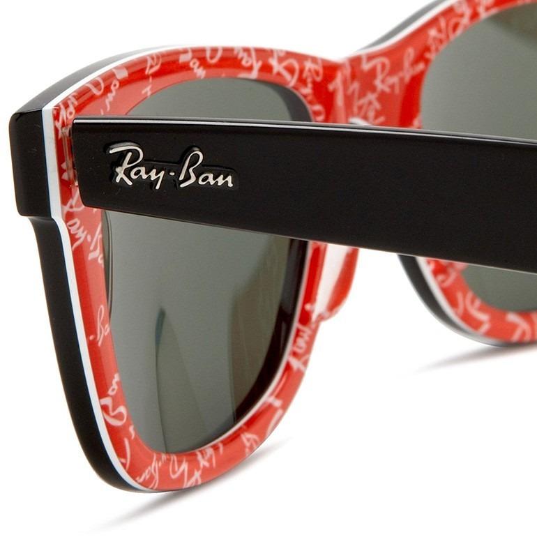 fb878cf455c Wayfarer Ray Ban Rb2140 Wayfarer Sunglasses Black On Text Red Frame Cryst