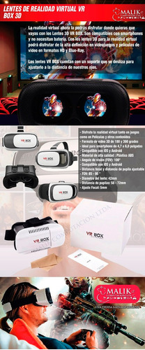 lentes realidad virtual vr box 3d juegos peliculas android_