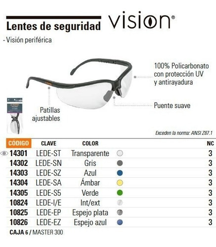 lentes seguridad vision transparente truper 14301