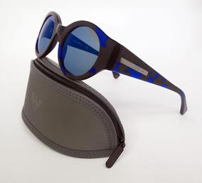 5494ccf8c Lentes Sol Emporio Armani Ea4044 Havana Blue Round Original