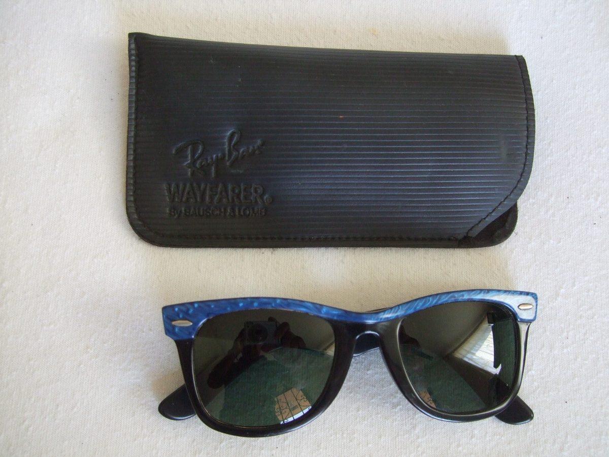 e0be427d35460 lentes sol ray ban wayfarer vintage bausch lomb azul-negro. Cargando zoom.