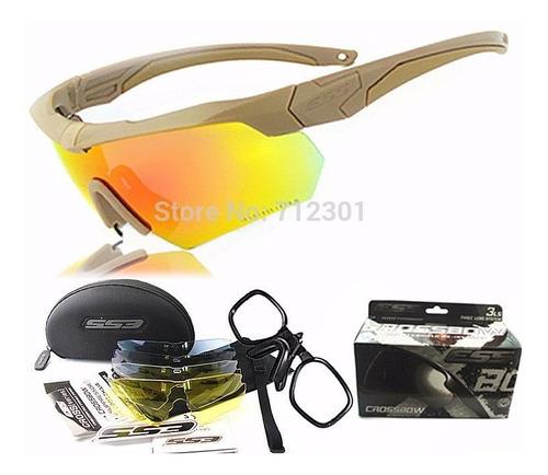 lentes tactico ess crossbow pack 5 lentes colo negro y arena
