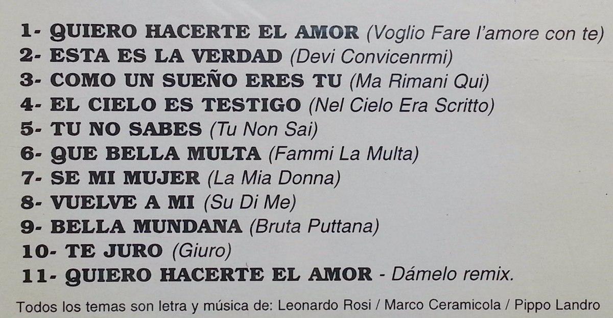 Leo Verde Cd Quiero Hacerte El Amor 1995 29990 En Mercado Libre