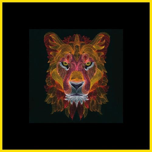león dark diseño digital ponchado bordado almohada