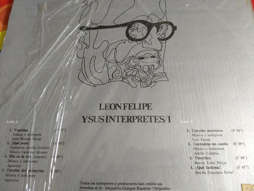 leon felipe lp y sus intérpretes colección 2 lps vol 1 y 2 r