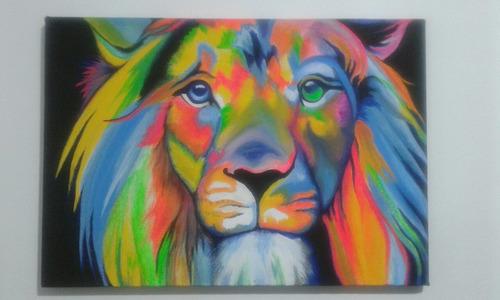 león. lienzo 60x40. acrílico.