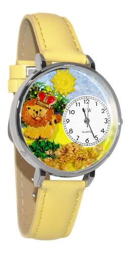 león reloj de plata (grande)
