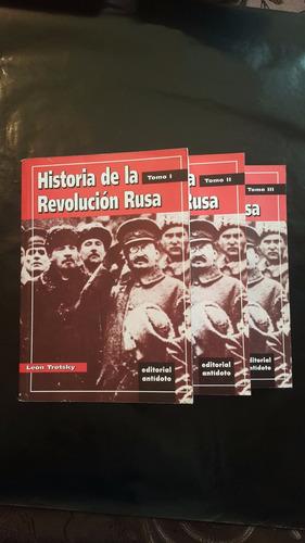 león trotsky; historia de la revolución rusa tres tomos.