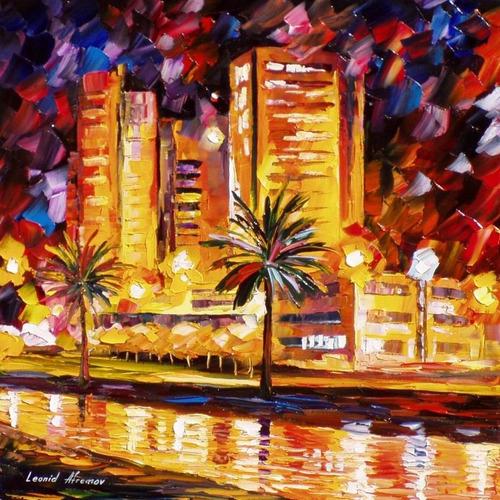 leonid afremov foto poster 65cmx65cm obra cidade tropical