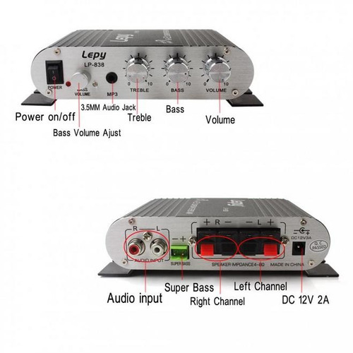 lepy lp - 838 amplificador de coche estéreo auto negro