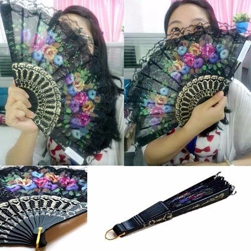 leque espanhol tecido floral bordado em renda 10 unidades