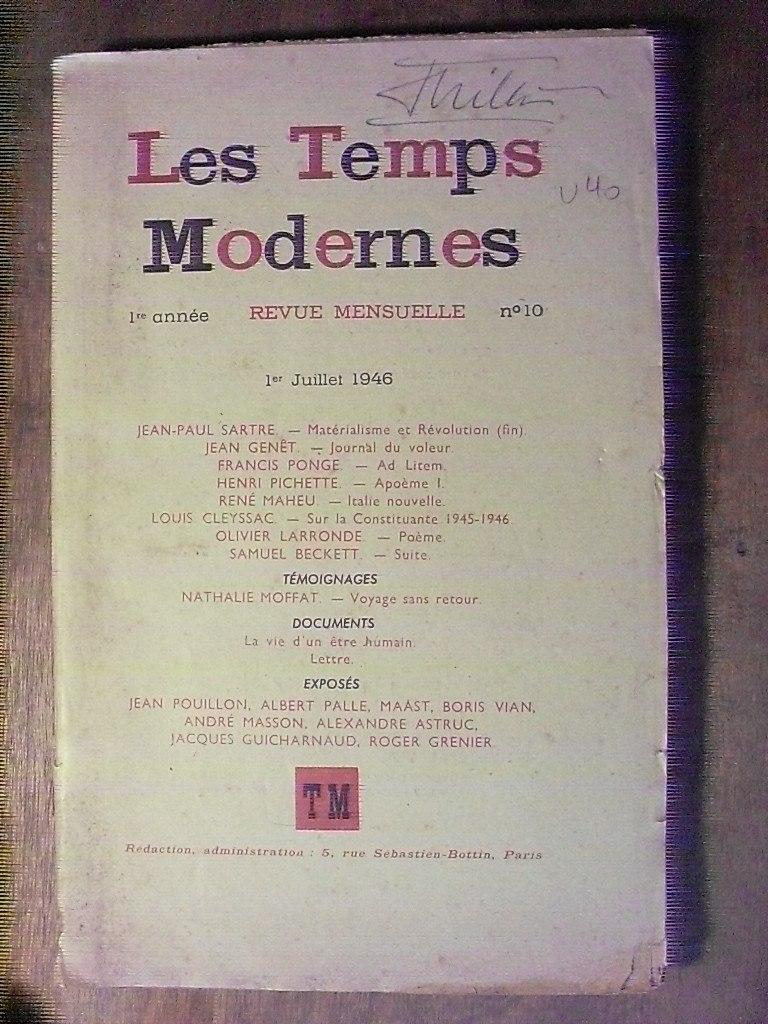 Les Temps Modernes N 10 1946 Sartre Genet Beckett Etc M20 40000
