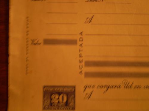letra  de cambio de 1950  emitida por la casa de monedas