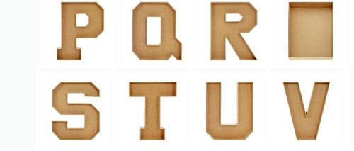 letra de madera en forma de caja 25 cm alto