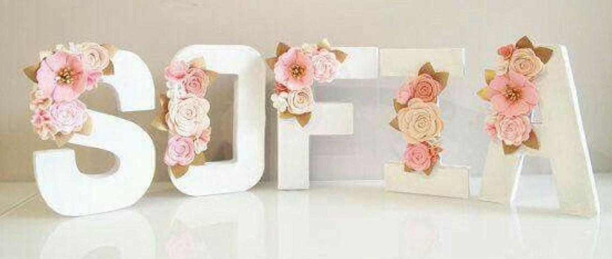 Letra de madera flores fieltro unicornio opcional manu en mercado libre - Letras decoradas infantiles ...
