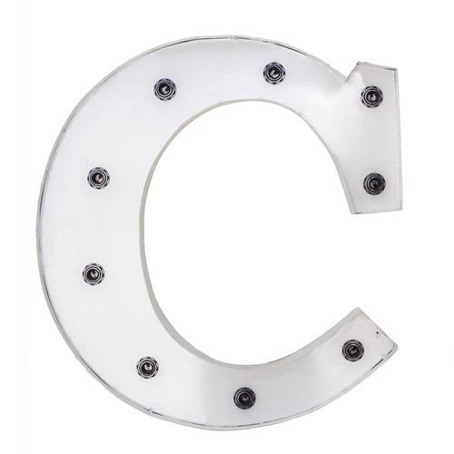 letra decorativa c com leds embutidos branca em ferro