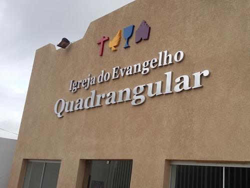 letra nome fachada igrejas acrílico branco ou cristal