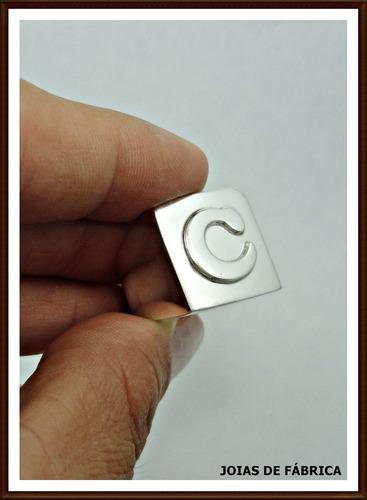 letra prata anel com