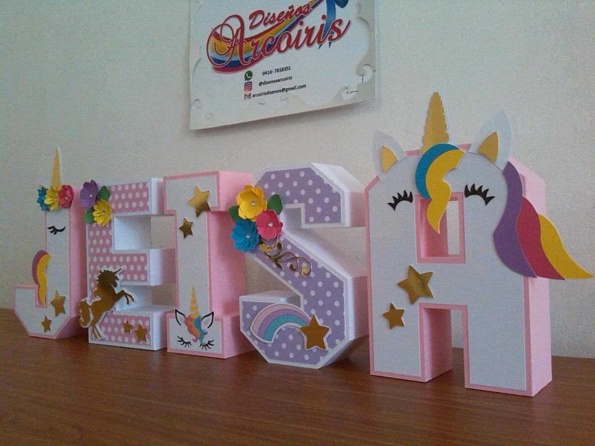 Letras 3d Decoradas Cartulina De 15 Cm Unicornio Flores