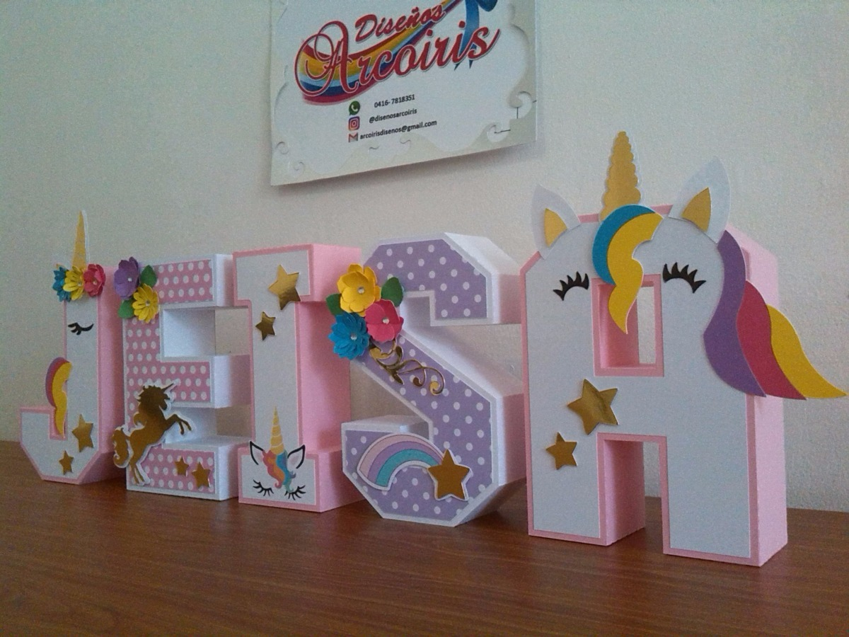 Letras 3d decoradas cartulina de 18 cm unicornio flores - Pared decorada con fotos ...