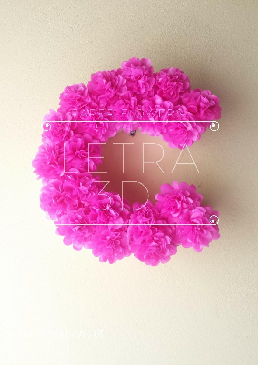 Letras 3d Flores De Papel Seda- Marcos - $ 300,00 en Mercado Libre