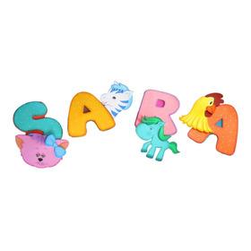 Letras Con Animales Varios En Foamy Para Alcoba De Los Niños