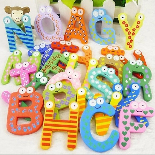 letras de madera imantadas abecedario 26 unidades coloridas