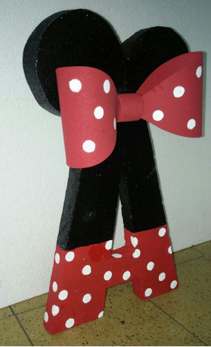letras decorada. minnie mickey. carteles centro de mesa