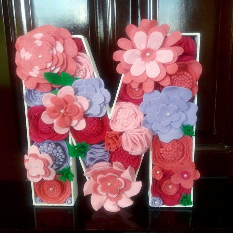 Letras Decoradas Con Flores. Decoracion. Cuarto Niñas - $ 180.00 en ...