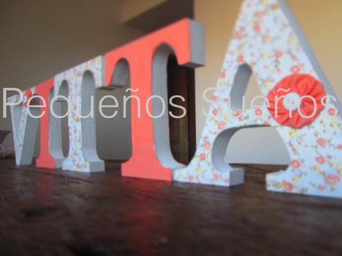 letras en madera forradas en tela