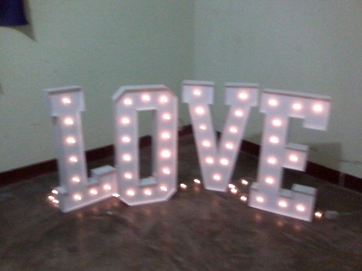 Letras gigantes mdf para decoraci n bodas bs for Letras luminosas decoracion