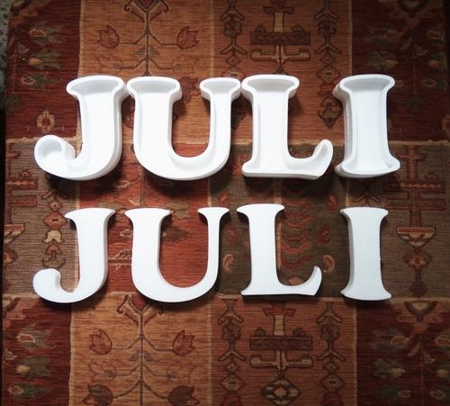 letras huecas 16 cm + corpóreas de regalo polyfan tu nombre
