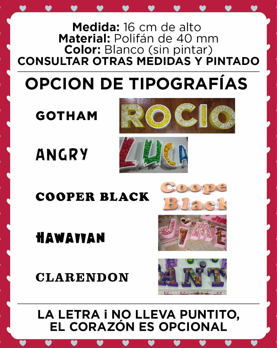Letras Huecas En Polifan - 16 Cm - Ideal Para Candy Bar. - $ 55,00 ...
