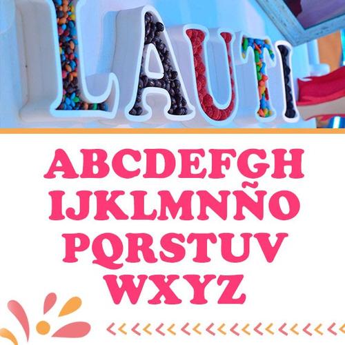 letras huecas para rellenar - candy bar - 16 cm - polyfan