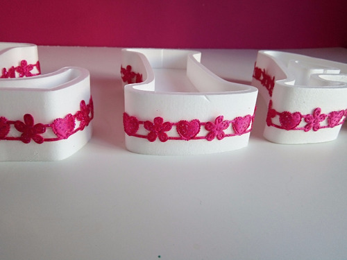 letras huecas pintadas decoradas polyfan p/ luces candy bar