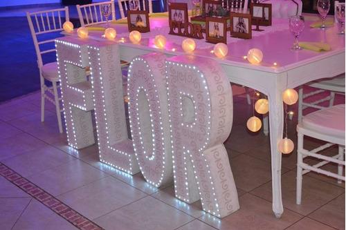 letras luminosas. 80 cm y love gigante.1.60mts.alquiler