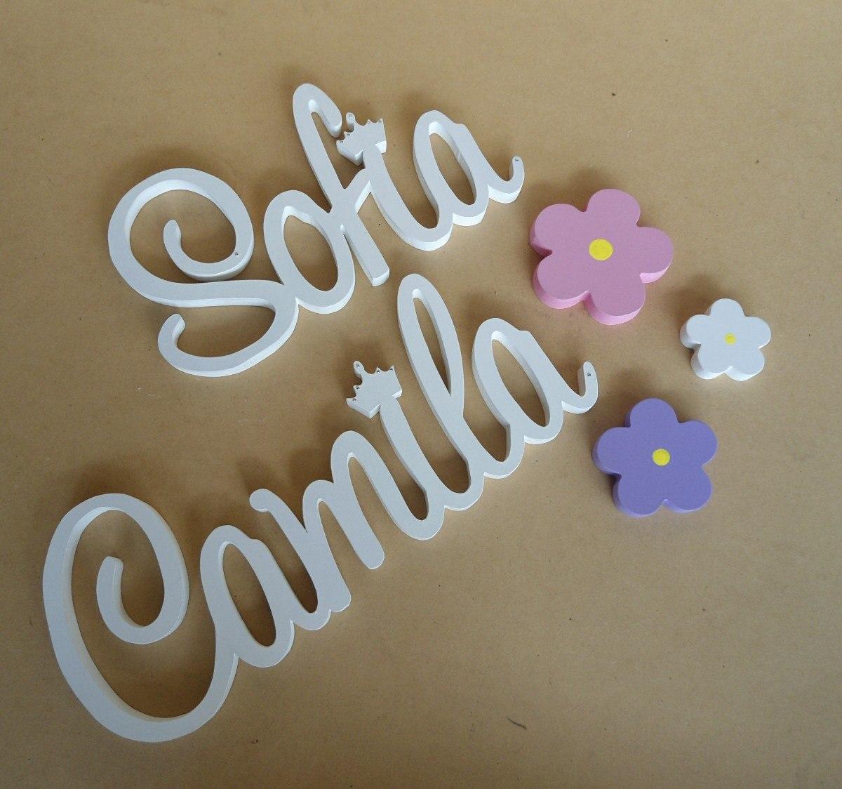 Letras nombres corridos pintados mdf madera pared candy for Decoracion en mdf para pared