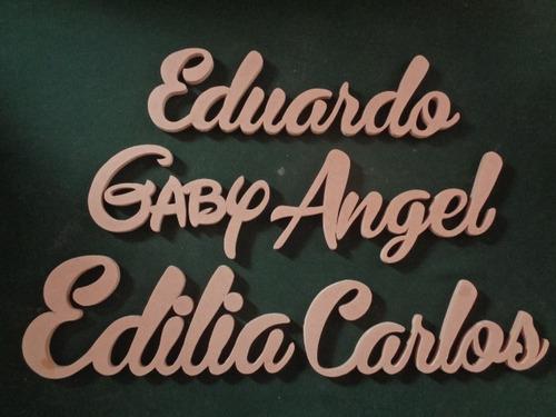 letras nombres de mdf 9mm crudo alto 15 cm. bases incluidas
