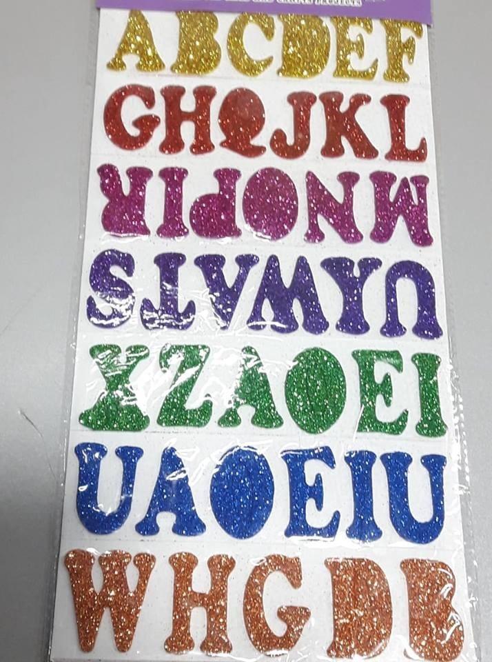 ae657c76db2 Letras Números Figuras En Goma Eva Con Brillo Autoadhesivas -   80 ...