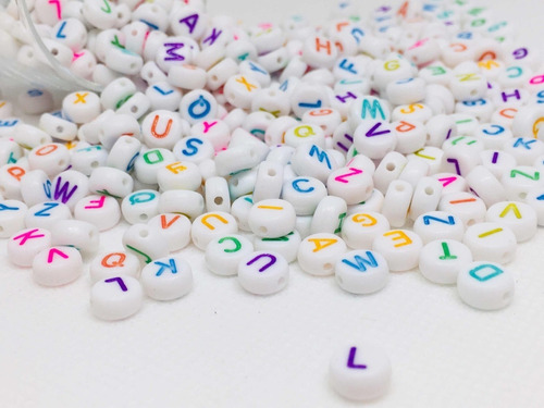 letras para bisutería pulseras abecedario 100 piezas colores