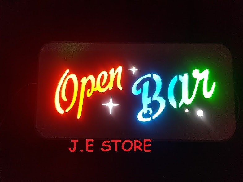 Letreiro Led Placa Luminosa Open Bar Artesanal Bivolt. - R