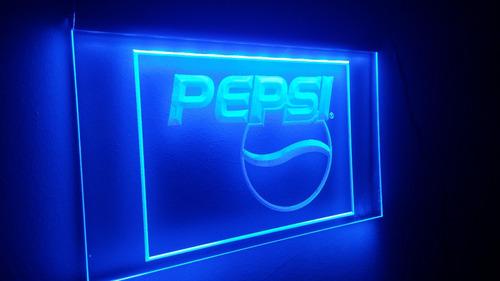 letreiro painel acrilico luminoso led refrigerante pepsi