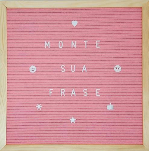 letreiro quadro 320 letras moldura madeira e feltro 3 cores