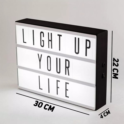 letreiro quadro led light box cinema a4 com 96 letras numero
