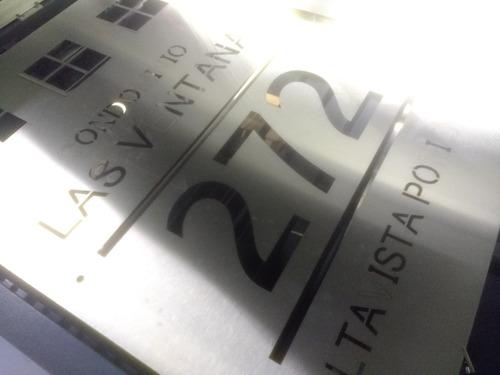 letrero acero inoxidable 120x90 cm corte láser personalizado 6 soportes gratis