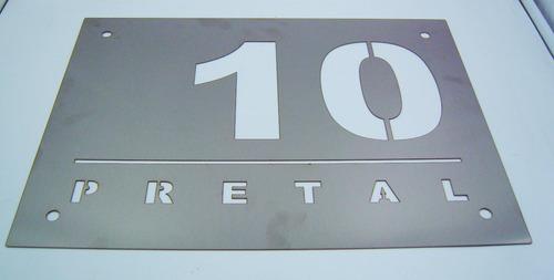 letrero acero inoxidable 40x30 cm corte láser personalizado 4 soportes gratis