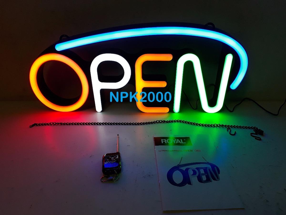 Letrero De Open: Letrero Anuncio Luminoso Led Open Royal Control Remoto