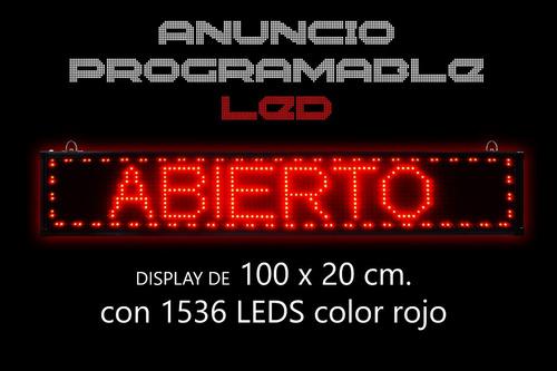 letrero de 1536 leds programable con display 100x20 cms.