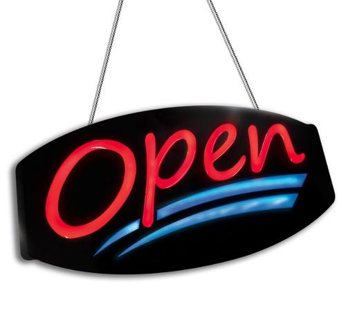 letrero de abierto tienda led pantalla open alien winners