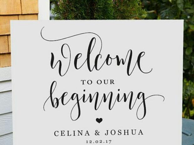 Letrero De Bienvenida Boda Iglesia Recepcion Personalizado